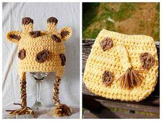 Giraffe Crochet Hat and Diaper Cover for Halloween.