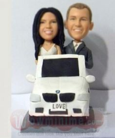 Driving a BMW car cutsom wedding cake topper - custom cake toppers personalized make from your own photos, top level custom cake toppers for wedding, anniversary and any occasions. Custom Wedding Cake Toppers, Wedding Cakes, Car Themes, Drive A, Reception, Anniversary, Bmw, Creative, Wedding Gown Cakes