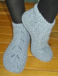 Hand knitted female slippers made of cotton and acrylic - gray.