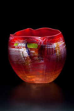 Dale Chihuly, Ruby Soft Cylinder with Rose Lip Wrap