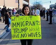 """Photo: """"Without immigrants, Trump would have no wives"""" - http://www.thelivefeeds.com/photo-without-immigrants-trump-would-have-no-wives/"""
