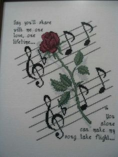 'Rose and Music' Cross Stitch Pattern - OMG! So many cross stitch boards, so little time.—do they not acknowledge this is phantom! Cross Stitch Music, Wedding Cross Stitch, Cross Stitch Boards, Cross Stitch Flowers, Counted Cross Stitch Patterns, Cross Stitch Designs, Cross Stitch Embroidery, Embroidery Patterns, Le Point