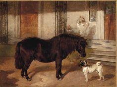 James Thomas Wheeler Shetland Pony and A Pug Graphic Illustration, Illustrations, James Thomas, Mediums Of Art, Horse Fly, Horse Paintings, Dog Rooms, Vintage Horse, Horse Photos
