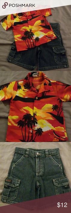 Hawaiian Fun! Very Fun Hawaiian Shirt by the (Marina of California).  This button up top is 100% Polyester.  2nd item is a nice and sturdy pair of Shorts by Wrangler. These shorts are zip up with a snap and include the inside elastic adjustable strap.  Both items are in Great Condition. Matching Sets