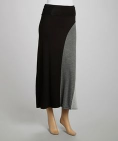 Look what I found on #zulily! Black & Charcoal Color Block Maxi Skirt - Women by J-MODE #zulilyfinds