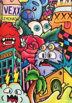 Art monster 61 Ideas doodle art monster mural for 2019 Cute Doodle Art, Doodle Art Designs, Doodle Art Drawing, Art Drawings Sketches, Cool Doodles, Doodle Characters, Graffiti Characters, Disney Characters, Graffiti Doodles