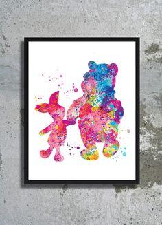 Winnie the Pooh Watercolor Art Print Pooh Bear Painting Disney Art Pooh piglet print pooh poster children room nursery Pooh birthday party