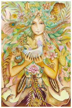 Gaia -Holly Sierra I'd say Persephone; she looks too young to be Gaia. Earth Goddess, Goddess Art, Art Beat, Psychedelic Art, Gaia, Magical Paintings, Art Magique, Sacred Feminine, Divine Feminine