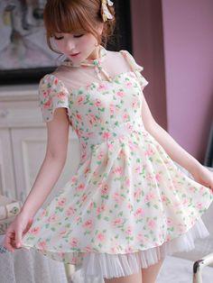 floral fairy back tie chiffon dress