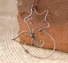 Fox. Fox Pendant. Wire Fox. Sleeping Fox. Copper. Wire Jewelry