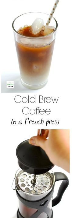 How to make cold brew coffee in a French Press - easy, delicious and just like the iced coffee from the coffee shop. Save tons of money! | APinchOfHealthy.com