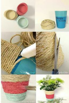 Ideas para decorar macetas by karyn Rope Crafts, Yarn Crafts, Diy And Crafts, Crafts For Kids, Deco Floral, Painted Pots, Clay Pots, Diy Projects To Try, Craft Gifts