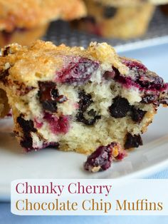 Chunky Cherry Chocolate Chip Muffins - our very best chocolate chip muffin recipe with chunks of sweet, fresh cherries baked right in. Sure to be the star of any weekend or special occasion brunch.