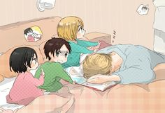 Omg this is so CUTE! Levi and Erwin taking care of the babies!   Shiganshina trio   SNK
