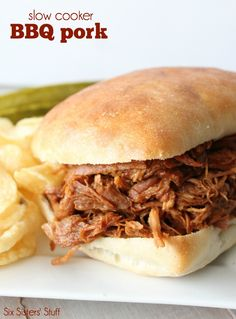 Slow Cooker BBQ Pulled Pork - only 3 ingredients! SixSistersStuff.com