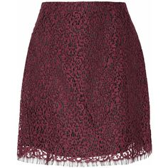 Carven - Lace Mini Skirt ($351) ❤ liked on Polyvore featuring skirts, mini skirts, crimson, mini skirt, purple mini skirt, lace miniskirt, short mini skirts and lacy skirt