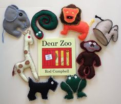 Dear Zoo Felt Animal Toys - 8 Medium Sized Soft Toys in the pack, teaching, nursery, primary school resources, story sack craft supplies Zoo Animals, Felt Animals, Dear Zoo, Story Sack, Training And Development, Craft Accessories, Primary School, Felt Crafts, Make And Sell