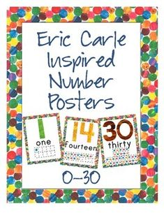 These Eric Carle inspired Number posters are perfect for your primary level classroom.  Whether you teach preschool, pre-k, kindergarten or first grade, your students will love using these posters as they learn their numbers and develop their number sense.  This set includes all numbers 0-30.