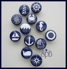 • Boutons nautiques marine • ancre • voilier • barre • phare • baleine • boutons • tiroir de la commode tire
