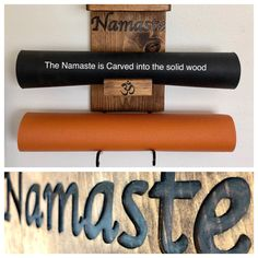 Carving into the solid wood- Namaste  Double mat holder with 2 shelves.  Looking for unique yoga mom gifts? Consideration bucket worthy