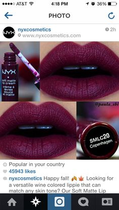 Shop Women's NYX Purple Red size OS Lipstick at a discounted price at Poshmark. Description: Brand new NYX soft matte lip cream in gorgeous 'Copenhagen'. Sold by Fast delivery, full service customer support. All Things Beauty, Beauty Make Up, Beauty Style, Beauty Tips, Hair Beauty, Nyx Soft Matte Lip Cream, Nyx Matte, Batons Matte, Make Up Inspiration