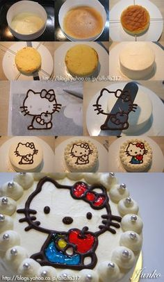 How to make a Hello Kitty Cake (Japanese) - draw picture on parchment paper. Trace with melted chocolate&let harden in freezer. Place on top of cake. Fill in/color with gel or icing. Pretty Cakes, Cute Cakes, Beautiful Cakes, Amazing Cakes, Cake Decorating Techniques, Cake Decorating Tutorials, Cookie Decorating, Decorating Tools, Hello Kitty Torte