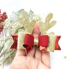 Reindeer bow hair clip Christmas hair clip bows Reindeer