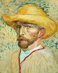 """""""Self-Portrait with straw hat"""" (Summer [F by Vincent van Gogh, from Zundert, Netherlands - - oil on cardboard; x cm - [Post-Impressionism] Place of creation: Paris © Van Gogh Museum, Amsterdam Van Gogh Museum, Art Museum, Van Gogh Portraits, Van Gogh Self Portrait, Vincent Van Gogh, Art Van, Fleurs Van Gogh, Van Gogh Arte, Van Gogh Pinturas"""