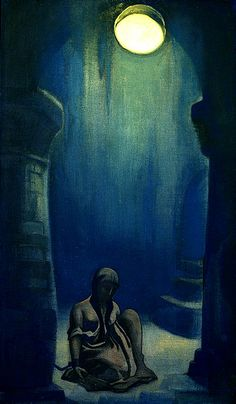 Nicholas Roerich (Russian, 1874 -1947) - Captive Maid, 1937,Tempera on canvas. 79.3 x 46.3 cm, Museum of Oriental Art, Moscow.