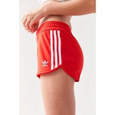 adidas Originals 3 Stripe Dolphin Short ($30) ❤ liked on Polyvore featuring shorts, striped shorts, hot short shorts, hot pants, high waisted hot shorts and hot shorts