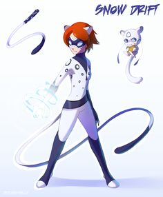 Day 2 of Akuma/Miracusona Week 1 I missed the first day BUT I'M HERE FOR THE REST This is Snow Drift, a Canadian superhero. When transformed she harnesses the power of the snow leopard, giving her. Lady Bug, Meraculous Ladybug, Ladybug Comics, Oc Manga, Character Art, Character Design, Catty Noir, Miraculous Characters, Miraculous Ladybug Fan Art