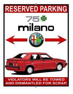 1988 Alfa Romeo 75 Milano 3.0 verde red 8x10 11x14 parking garage plate