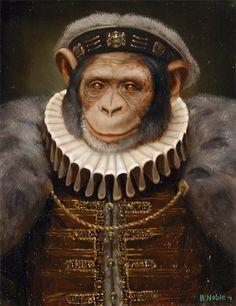 Brad Noble anthropomorphic ape in Tudor costume