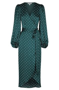 Martina wrap midi dress Wrap midi dress in the exclusive Martina emerald and ivory spot. This dress in a luxurious light weight woven with a silk touch features low … Ivory Dresses, Elegant Dresses, Women's Dresses, Beautiful Dresses, Casual Dresses, Fashion Dresses, Dresses For Work, Wrap Dresses, Pretty Dresses