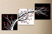 Alta qualidade pintura a óleo arte árvore Black White Red Canvas Art abstrata moderna 3 peça decoração de barato venda sem moldura(China (Mainland))