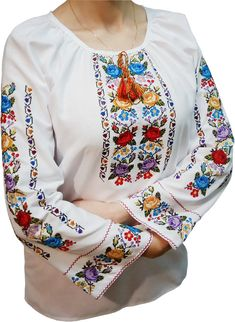 Women's embroidery - an embroidered shirt with a unique ornament (Art. Frock Fashion, Diy Fashion, Kurti Neck Designs, Blouse Designs, Polish Embroidery, Embroidery On Kurtis, Palestinian Embroidery, Kurti Collection, Cross Stitch Rose