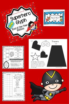 $ Looking for something new to celebrate the end of the school year? The end of the school year is the perfect time for a superhero theme.  Make the end of the school year even more special with this fun edition of my popular superhero glyph. *Images of super hero are copyrighted by Pink Cat Studios.*