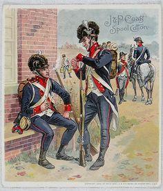 J P Coats Spool Cotton Thread Trade Card US Army Uniforms 1802 1810