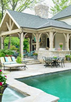 Gorgeous pool, stone work and patio. Kitchen idea with pergola above (attached to patio) Pool house by Mitchell Wall Architecture Perfection! Outside Living, Outdoor Living Areas, Outdoor Rooms, Indoor Outdoor, Rustic Outdoor, Outdoor Kitchens, Outdoor Cooking, Outdoor Entertaining, Outdoor Cabana