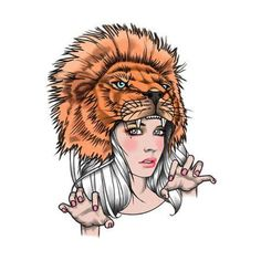 Tattify Lion Headdress Temporary Tattoo - Lioness (Set of 2)