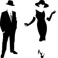 WC wall decals - Wall decal Silhouette man and woman