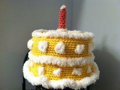 Custom Made Crochet Birthday Cake Hat by HaldaneCreations on Etsy, $20.00