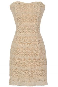 Beige Crochet Lace Strapless Dress by Ark and Co