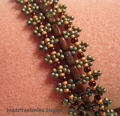 Parisian Lace bracelet pattern designed by Eileen Barker using CzechMates two-hole Bricks.