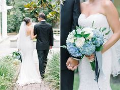 Blue hydrangea bouquet at a Charleston wedding at The William Aiken House, designed by A Charleston Bride // Photos by Charleston wedding photographer, Aaron and Jillian Photography