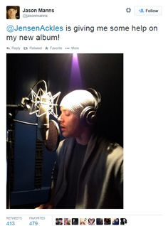 Jason Manns tweet - Jensen recording for Jason's album that due to release later this year! :D