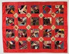 "Crazy Quilt - Clarissa Palmer Griswold. Made in Sioux County, Nebraska, 1886. 72"" x 56"". Nebraska State Historical Society, Source: Governor and Mrs. Dwight Griswold Collection. Clarissa married Dwight Griswold in 1886. Their son, Dwight Palmer Griswold, was governor of Nebraska from 1941-47, and U.S. Senator from 1953-54."