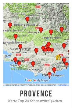 Auf dieser Karte finden Sie alle meine TOP Sehenswürdigkeiten der Provence.