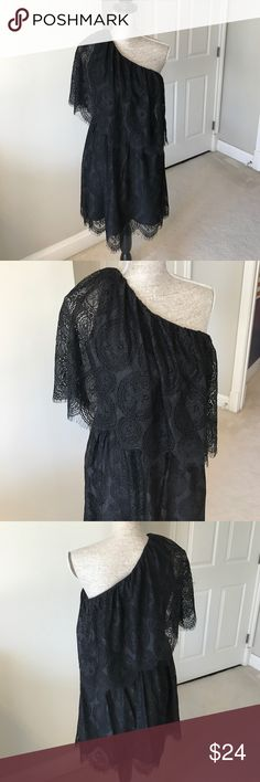 WAYF black lace one shoulder dress So pretty! Black lace one shoulder dress by WAYF. Side zip closure with hook and eye.                  Measurements: Bust:36 inches.  Waist:28 inches  Length: 36 inches WAYF Dresses