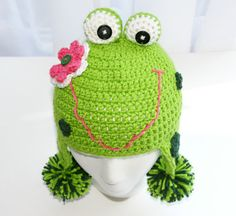 Childs frog hat crochet in green with pink flower custom sizes and colors boy or girl. $30.00, via Etsy.